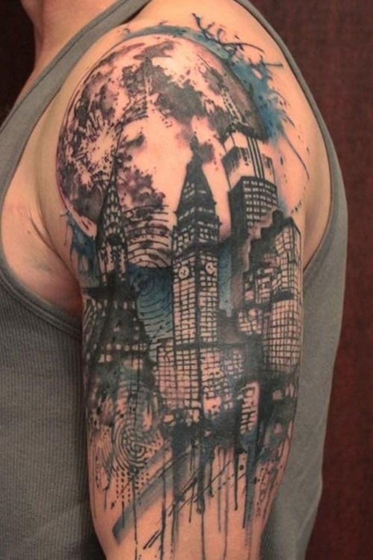 city skyline tattoo google search work pinterest skyline tattoo tattoo and city tattoo. Black Bedroom Furniture Sets. Home Design Ideas