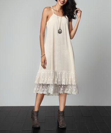 Another great find on #zulily! Cream Lace Slip Extender Dress by Reborn Collection #zulilyfinds