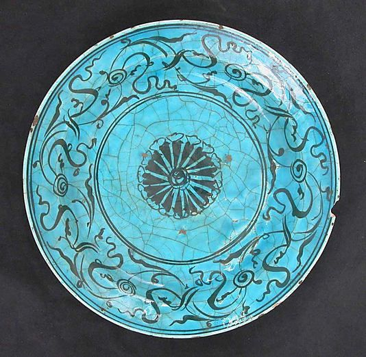 Dish Date: 16th–17th century Geography: Iran Culture: Islamic Medium: Stonepaste; painted in black under turquoise glaze Dimensions: D. 11 i...