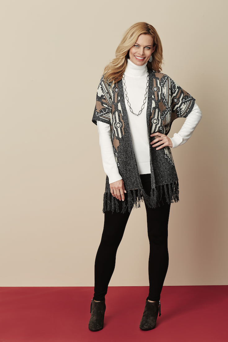 Cozy aztec print vest trimmed with long fringe for visual texture and movement! #SteinMart