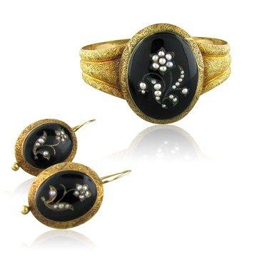 Antique 14k Gold, Onyx & Pearl Demi Parure, Bracelet & Earrings