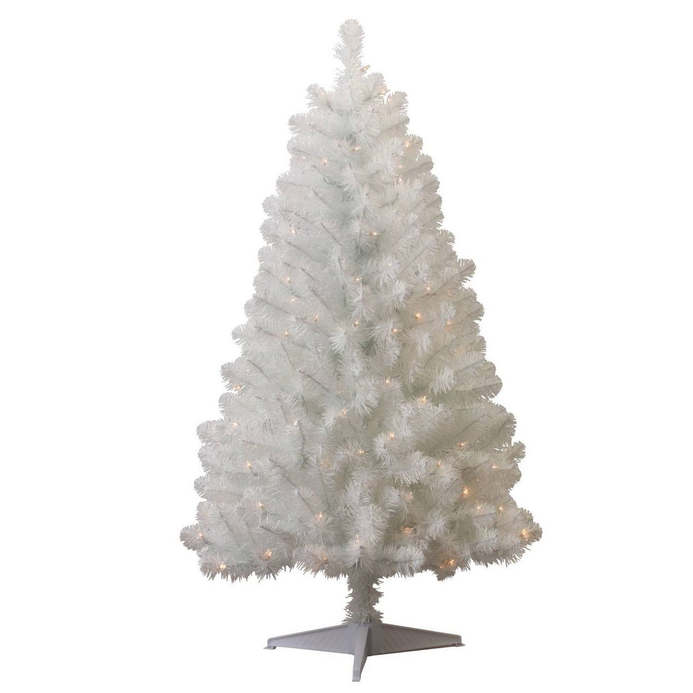 4.5ft Pre-lit Slim Artificial Christmas Tree White Alberta ...