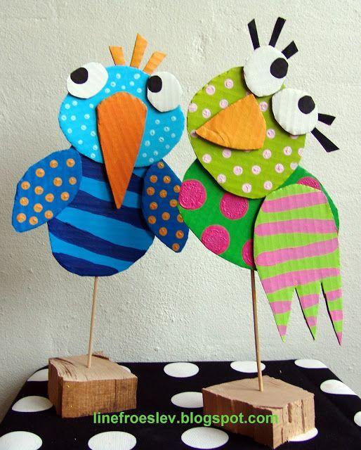 Manualidades Con Carton Y Papel De Pajaros Niños Artísticos Manualidades Arte De Preescolar