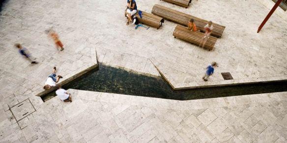 Sidewalk and urbanization of the old city center of Banyoles/Girona
