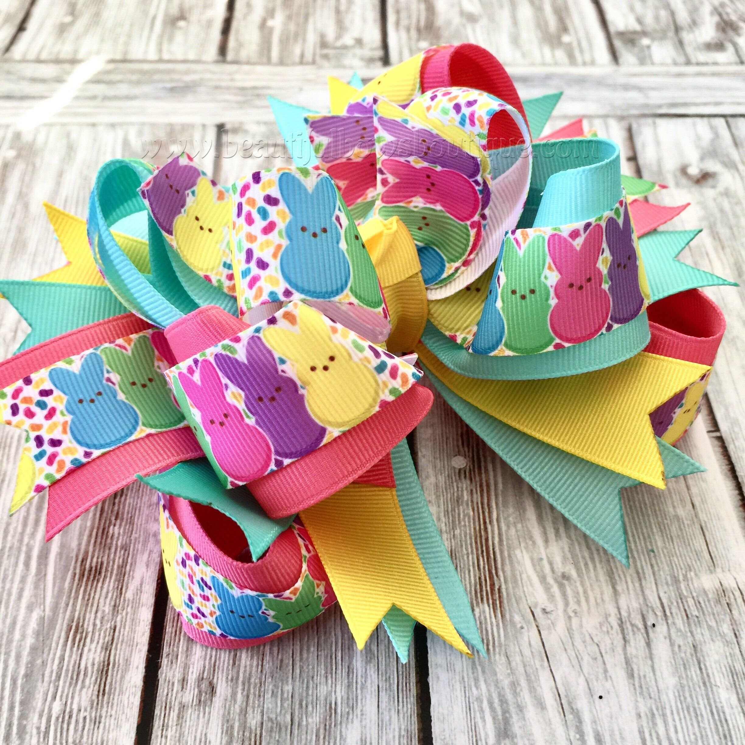 Easter Bunny Hair Bow,Peeps Hair Bow, Easter Boutique Headband #hairbows