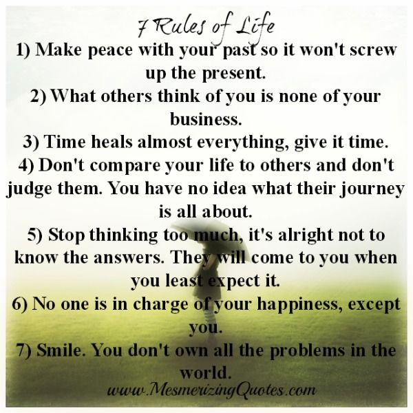 Inspirational Quotes On Life: 7 Rules Of Life, Quotes, Life