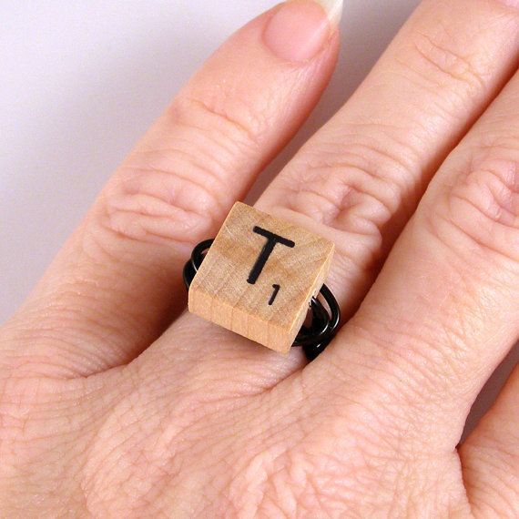 Scrabble Letter Ring  Choose your letter by XOHandworks $8.50 - My mom would LOVE this... maybe I'll order it.