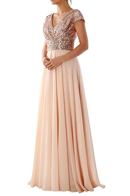 MACloth Sequin Bridesmaid Dress Straps V Neck Ruched Long Formal Evening Gown (34, Negro)