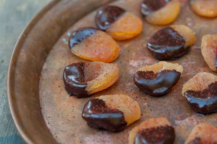 Let's Party: Spiced Apricots in Dark Chocolate | BHG Delish Dish from Forest Feast made for Tu Bishvat