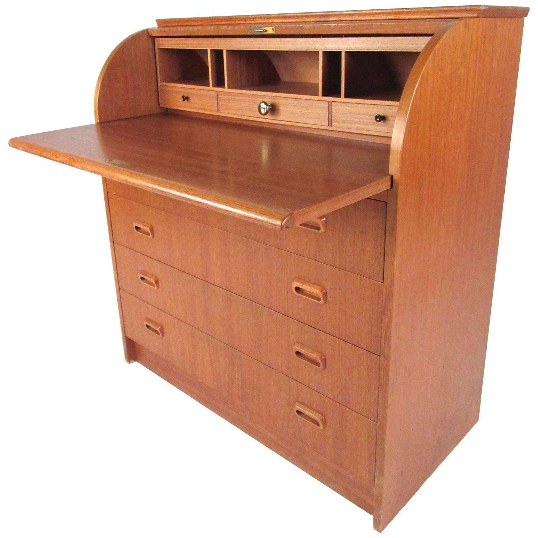 Scandinavian Modern Teak Roll Top Desk Scandinavian Modern Teak Roll Top Desk