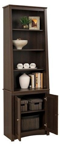 classic fit e650c 51cfa Tall Slant-Back Bookcase with 2 Shaker Doors Espresso ...