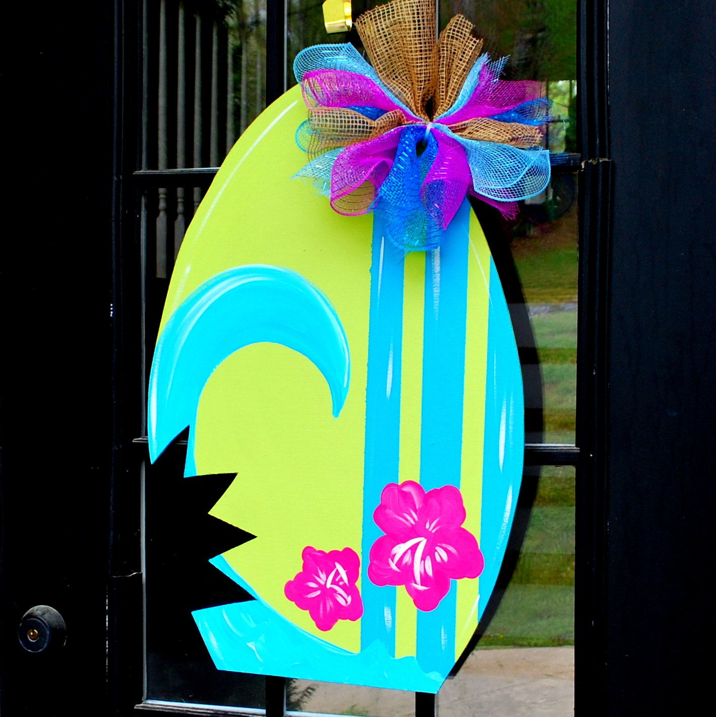 Summer door hanger surfboard door decoration summer for Summer beach decor