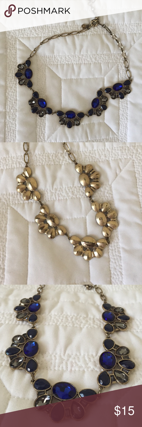 J. Crew necklace jcrew necklace with antique gold hardware and deep blue and grey colored stones. The length is adjustable. Necklace is in used but good condition. J. Crew Jewelry Necklaces