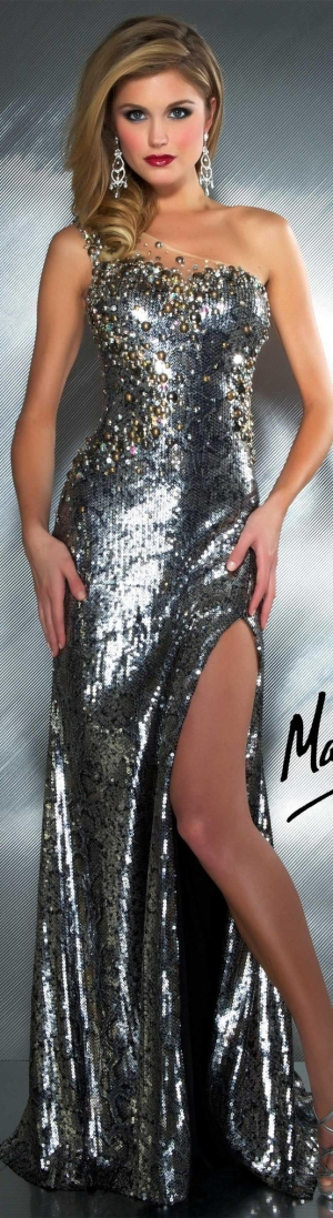 Mac Duggal couture dress charcoal #silver #long #formal #oneshoulder #dress #glitter MAC DUGGAL PROM  STYLE 81813M by Janny Dangerous