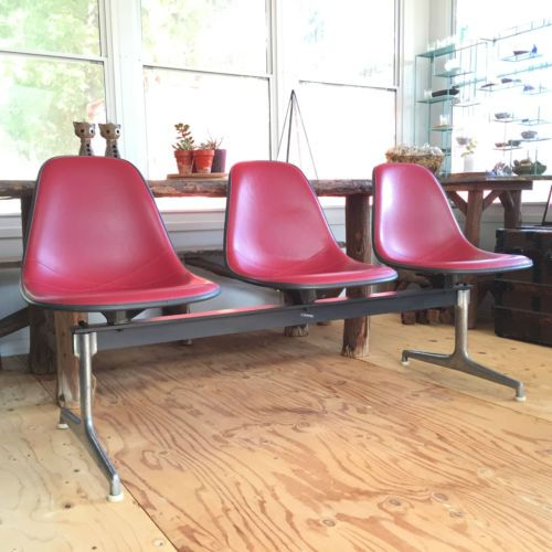 Vtg Herman Miller Eames Tandem Bench Seating Red Shell Chairs Mid Century Modern 椅子