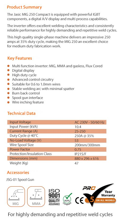 MIG 250 Compact data sheet Jasic Product Data Sheets Pinterest - product spec sheet template
