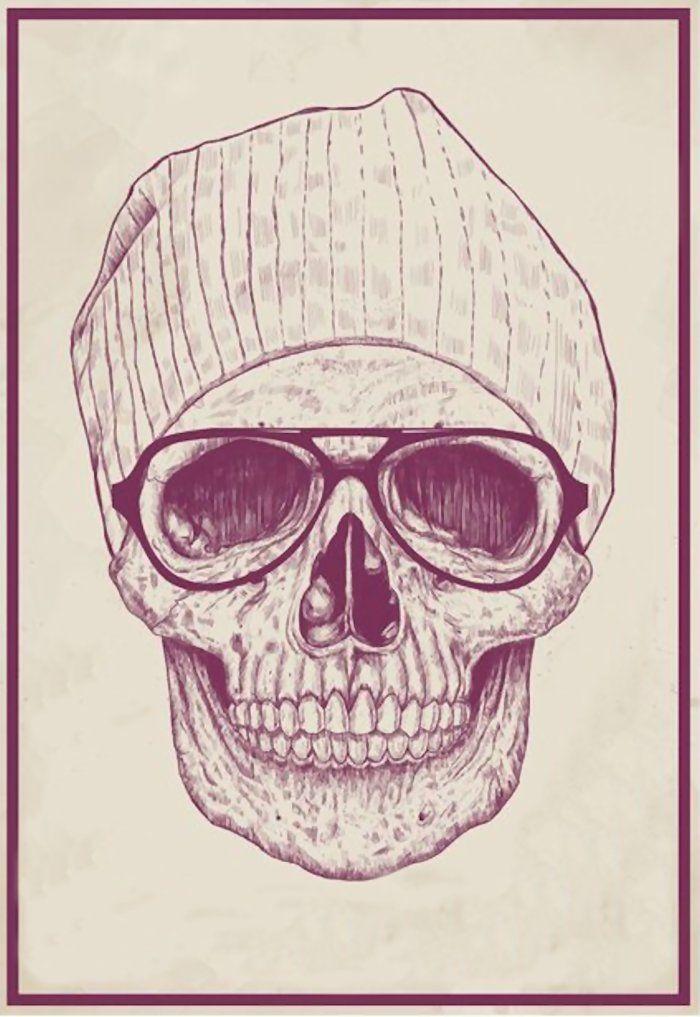 Skull, Glasses, Hat