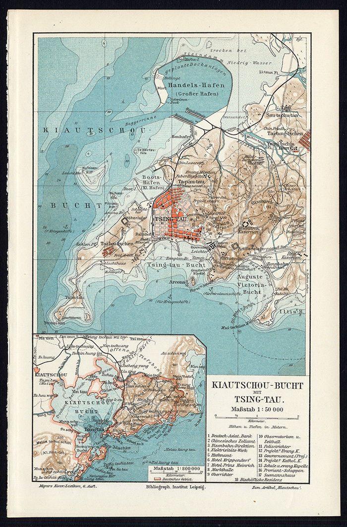 antique map of qingdaotsingtao vintage maps of china