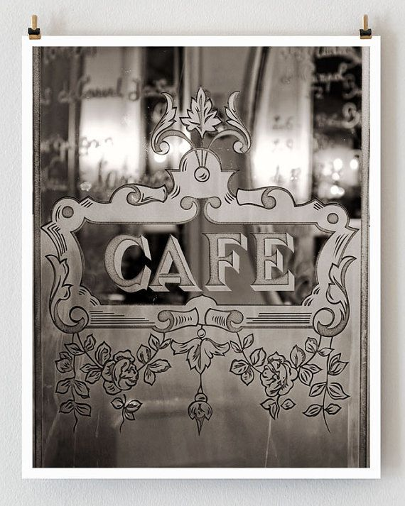 Paris Photography Etched Glass Cafe Print Extra Large