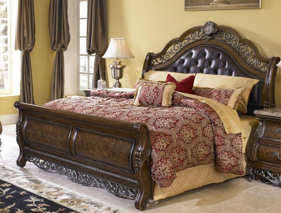 Bedroom Clasic Espresso Stained Wooden Platform Bed Frame