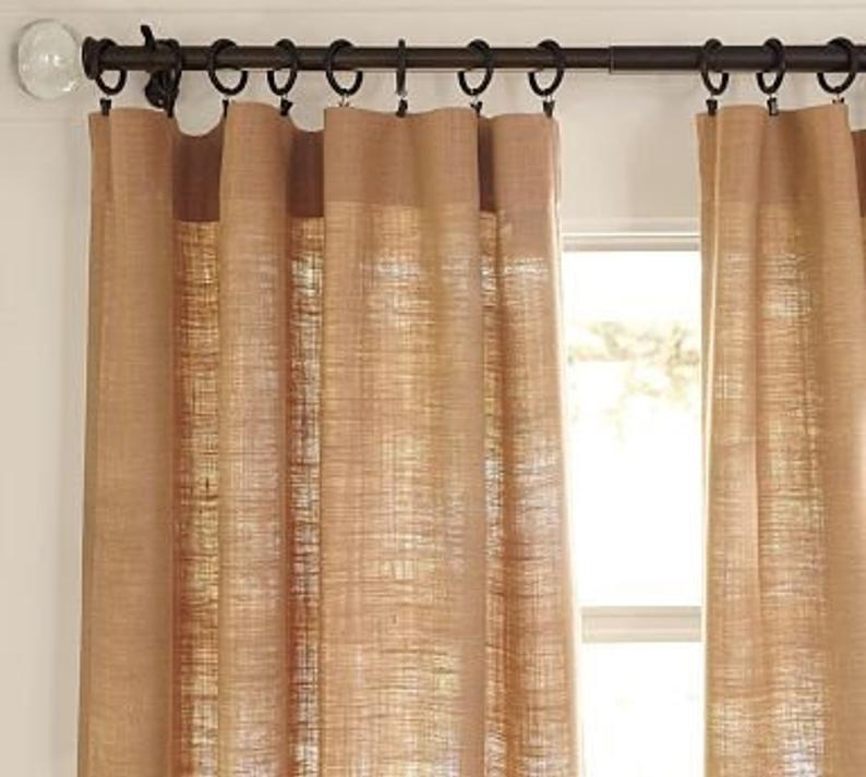 Burlap Curtains One Panel 40 Inches Wide By Desired Length With