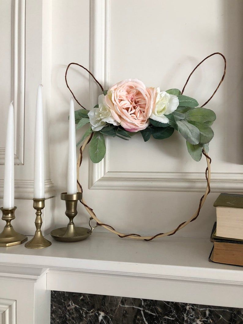 Photo of Bunny Wreath – Easter Wreath – Spring Floral Hoop Wreath – Easter Hoop Wreath – Wedding Bridal Hoop – Rustic Farmhouse – Pink Wreath –