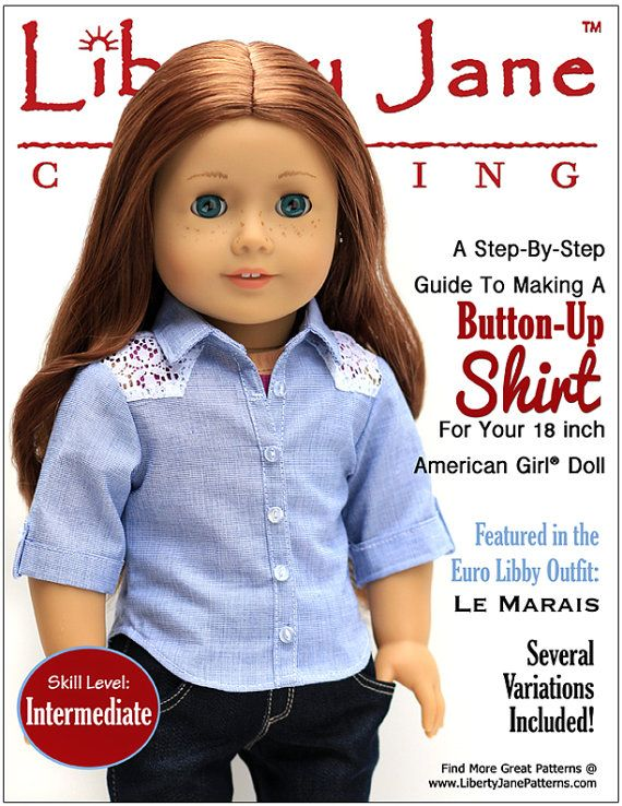 Pixie Faire Liberty Jane Button Up Shirt Doll Clothes Pattern for 18 ...