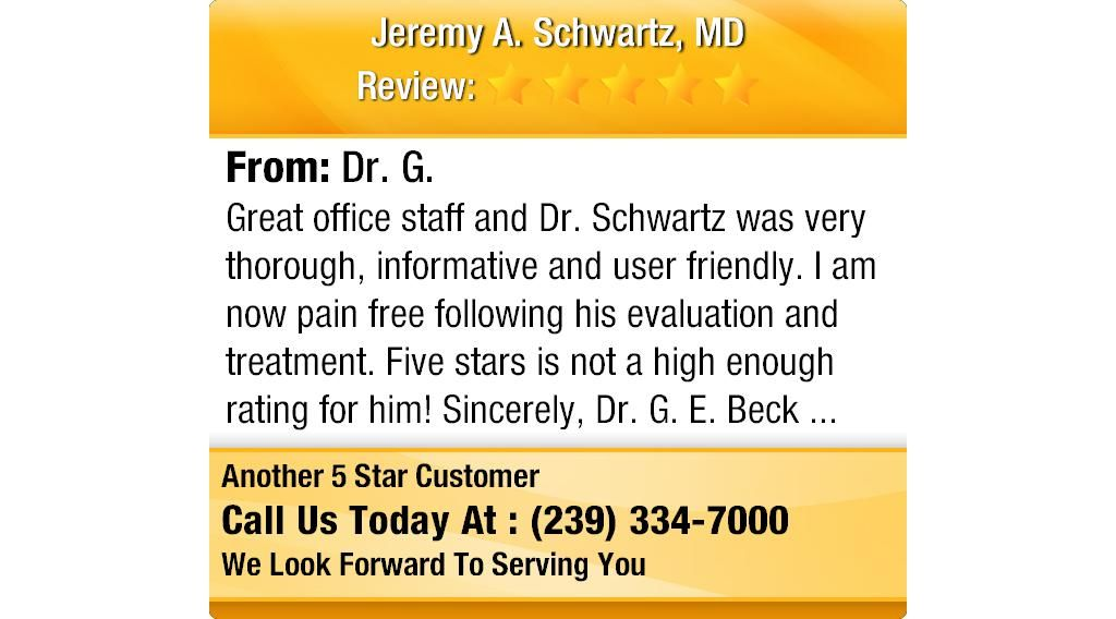 Great office staff and Dr. Schwartz was very thorough