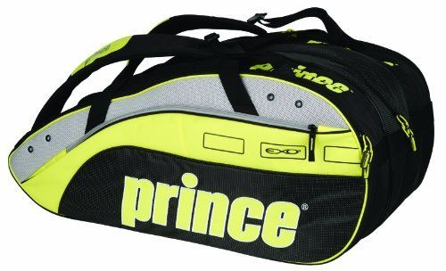 Prince Rebel 12-Pack Tennis Bag (Black/Grey/Yellow) by Prince. $79.00. Carry the bold and stylish Rebel bag, carried by the Prince marquee athletes who wield the Rebel racquet.  Holding up to 12 racquets, the well made Rebel 12 Pack Bag features plenty of room for clothing, shoes and gear in 3 large compartments and a side accessory compartment.  Shoes or wet clothes can be conveniently stored in the built-in pocket reached from the bottom of the bag.  There a...