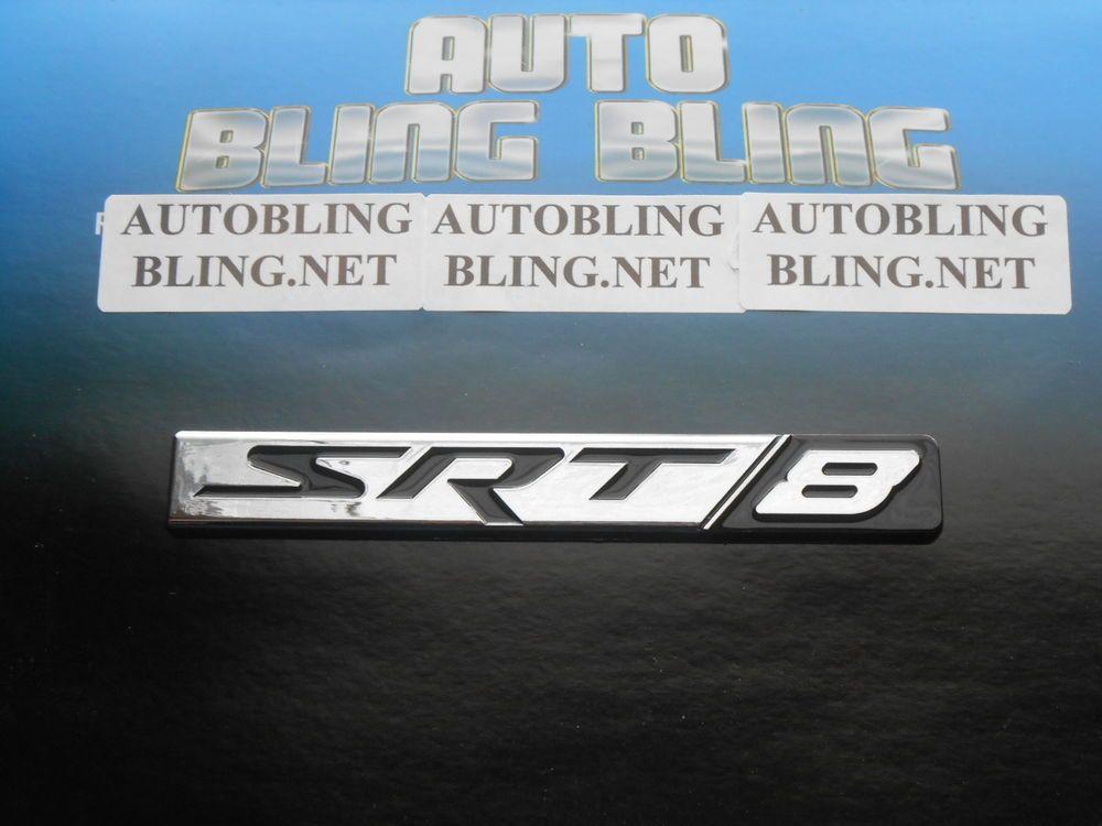 """DODGE CHRYSLER JEEP /""""SRT 8/"""" Chrome And Black Emblem NEW OEM MOPAR"""