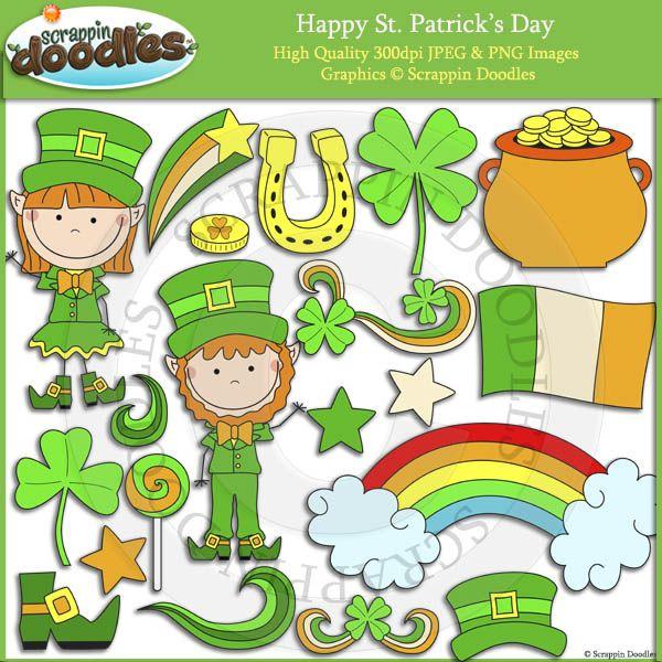 Happy St Patrick S Day Doodles Clip Art Saint Patricks Day Art