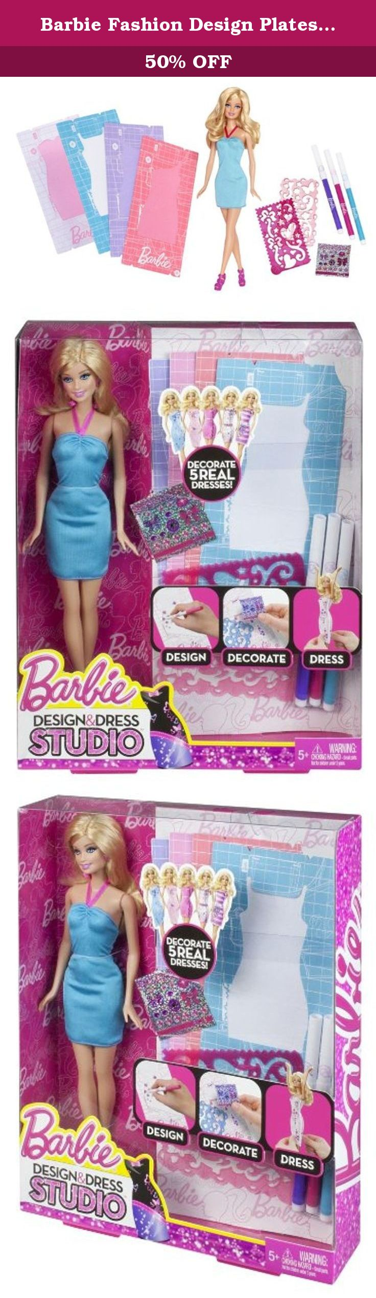 Barbie Fashion Design Plates Dress And Doll The Barbie Design Dress Studio Doll Allows Girls To Design Re Fashion Design Dress Fashion Design Barbie Fashion