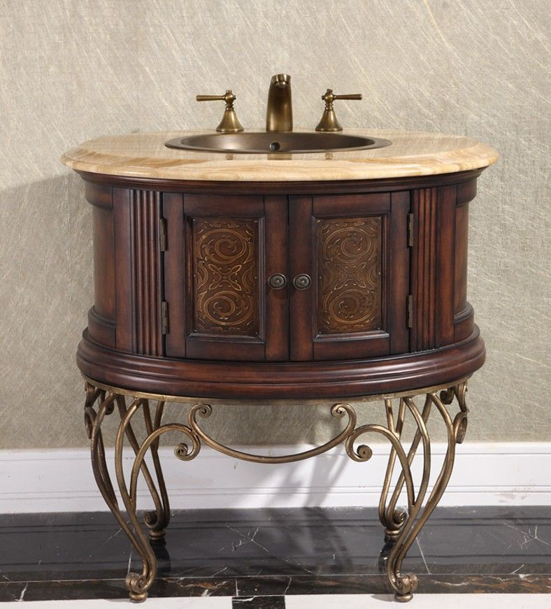 Legion 32 inch Vintage Single Bathroom Vanity in Brown ...