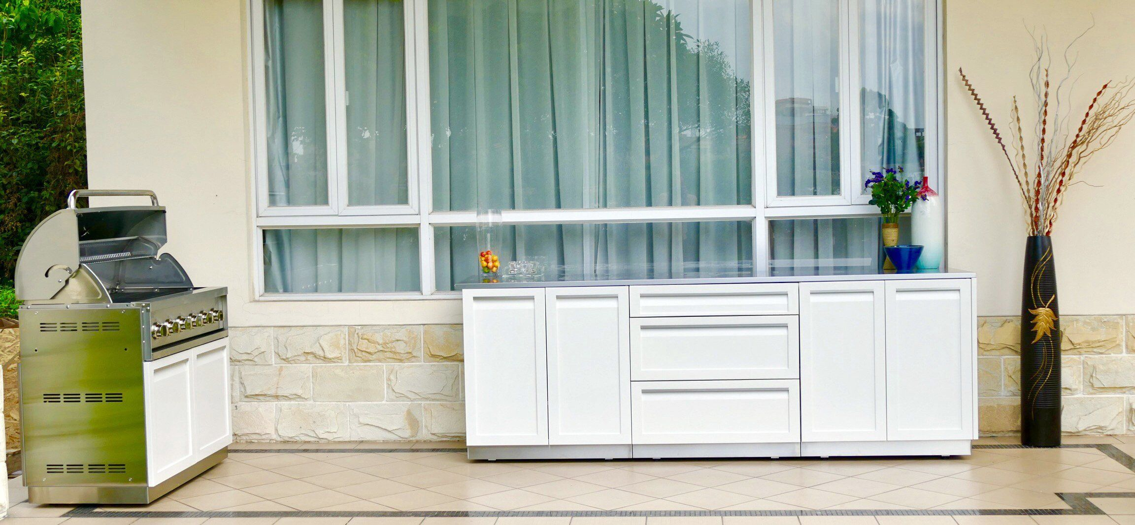 4 Life Outdoor W40079 Kitchen Cabinet 4 Piece Set 106 X 36 X 23 5 Stainless Steel Frames White Doors Details Can Be Found By Clic Outdoor Kitchen Cabinets White Doors Outdoor Storage