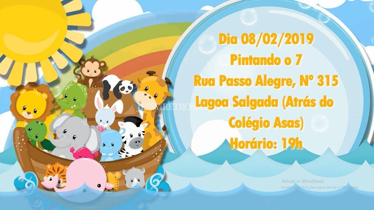 Convite Animado Tema Arca De Noe Para Whatsapp Com Imagens
