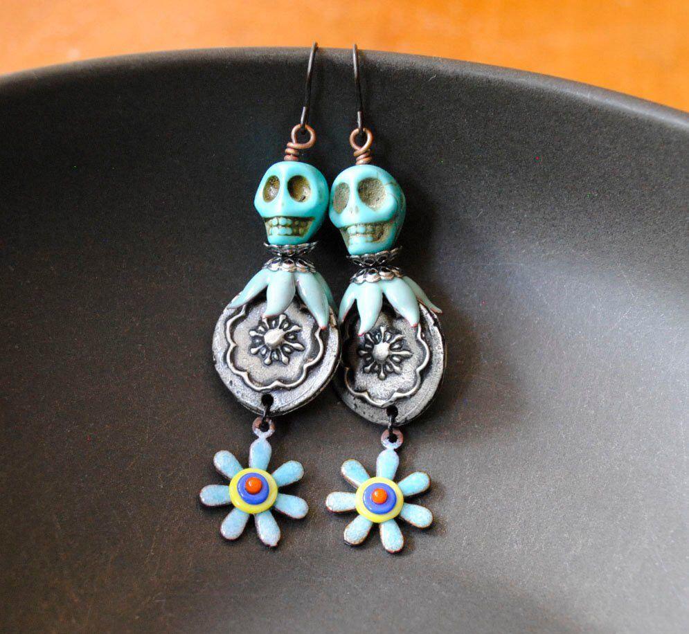 da327f79d Skull Earrings, Floral Earrings, Halloween Earrings, Sugar Skull ...