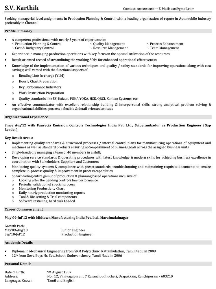 Production Resume Samples Engineering resume, Sample
