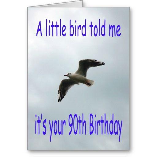 Happy 90th Birthday Flying Seagull bird Greeting Cards