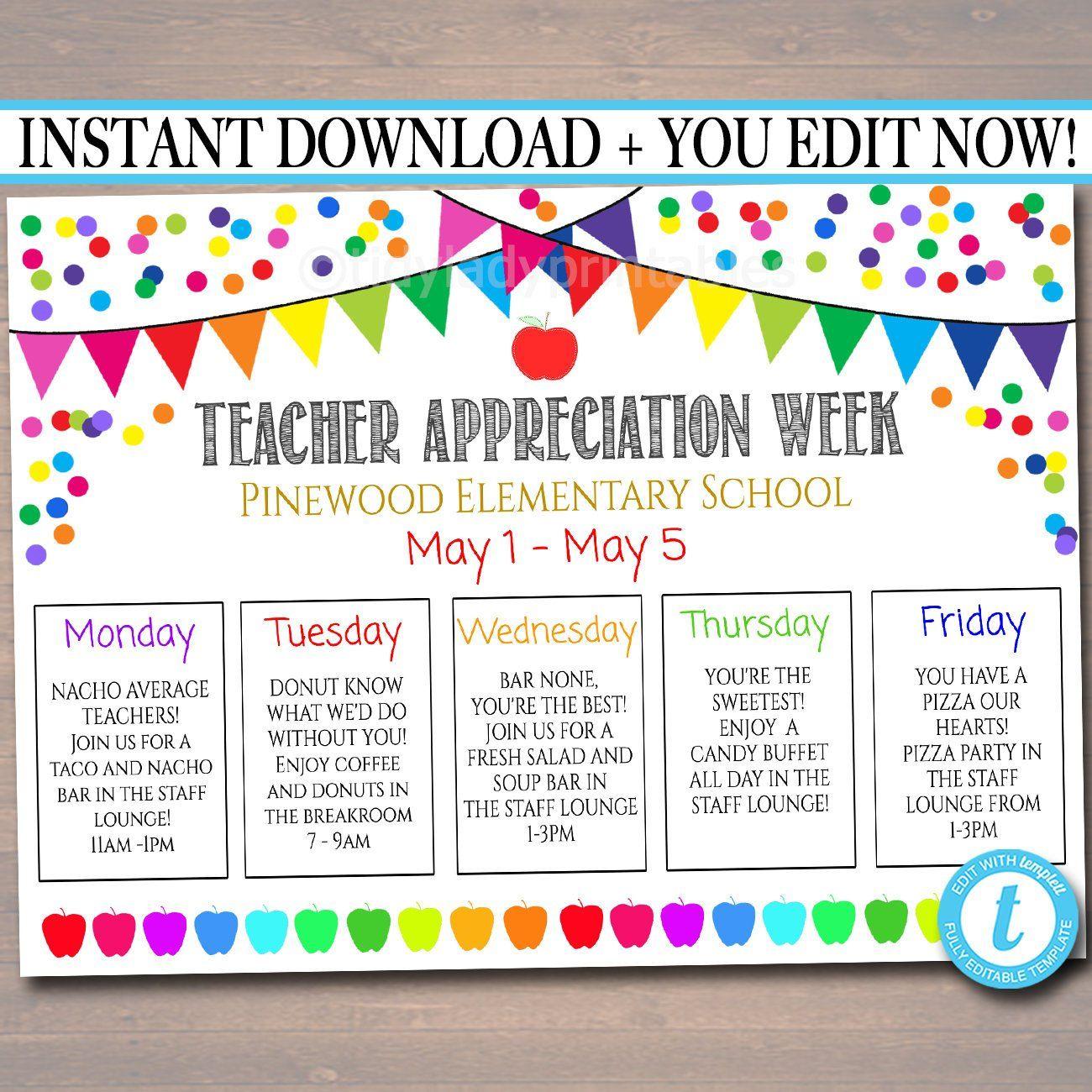 Teacher Appreciation Week Itinerary Poster File Appreciation