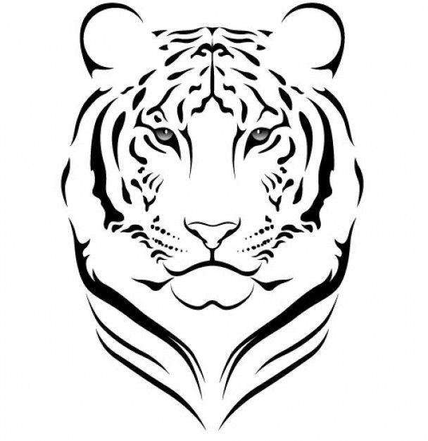 tiger stencil ลอกลาย Pinterest Stenciling, Tigers and Silhouettes - copy coloring pages of tiger face