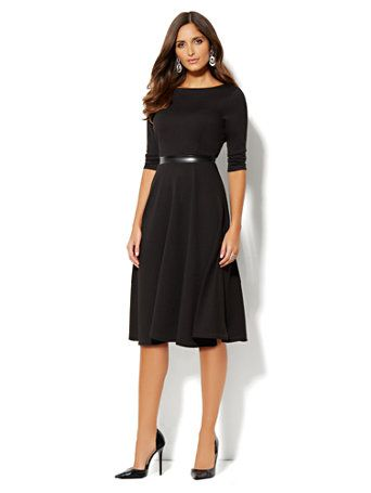Shop Mix-Knit Midi Flare Dress. Find your perfect size online at the best  price at New York   Company. a1ff83214