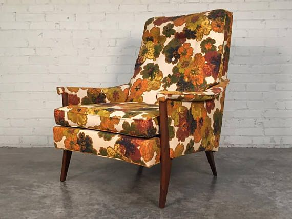 Kroehler Mid Century Modern Lounge Chair Floral Fabric Mid