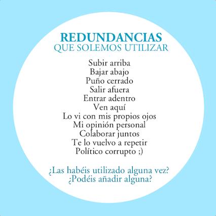 Redundancias que solemos utilizar (pleonasmos)