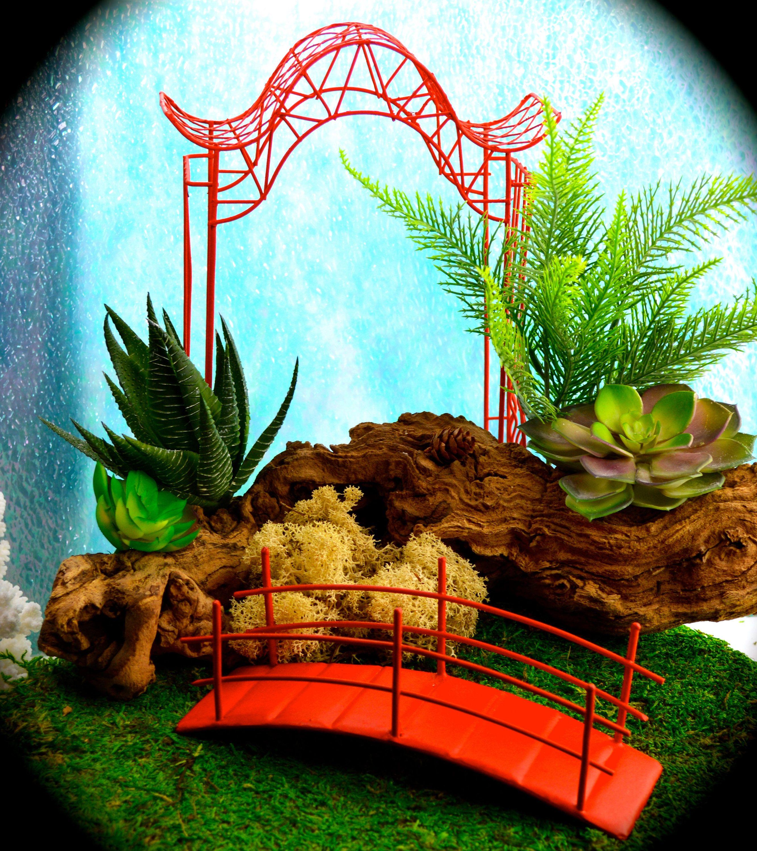Red Garden Arbor And Red Bridge Japanese Miniature Garden Arbor