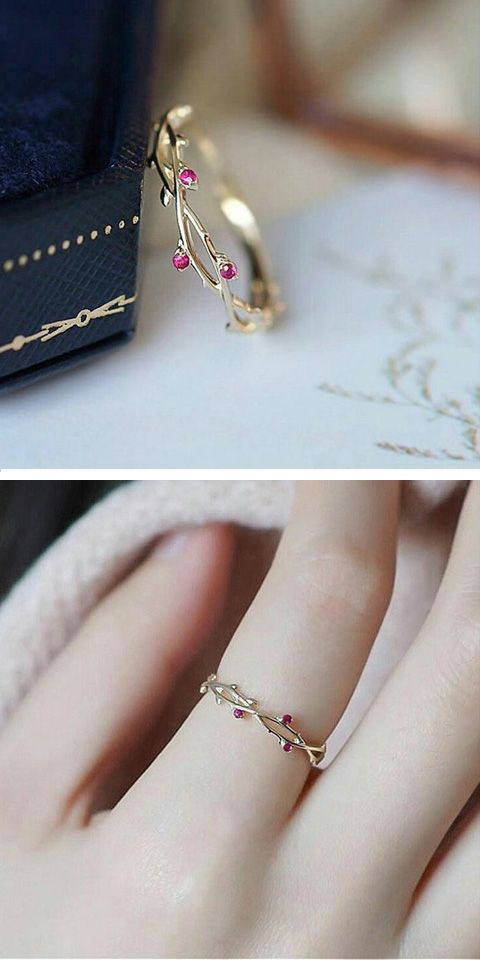 Photo of Vines Ruby Rings for Women Wedding band Engagement Ring