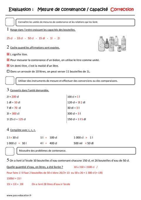 Bien-aimé Mesure de capacités, contenances, litre - Ce2 - Evaluation | eval  EC55