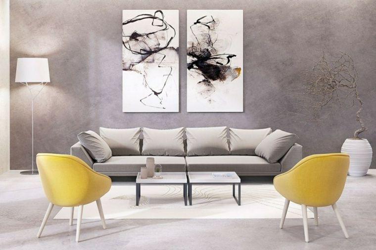 Pareti colorate soggiorno e decorate con quadri, divano ...