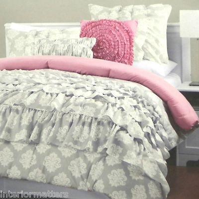 Cynthia Rowley Grey White Damask Ruffled 3pc Full Queen Duvet Pink Priority Ship Dorm Comforter Sets Comforter Sets Dorm Comforters