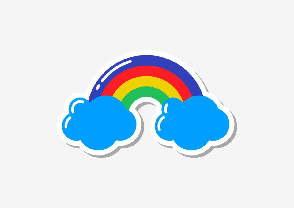 Pop Art Eighties Patch Sticker Cartoon Rainbow Cloud Png And Vector With Transparent Background For Free Download Rainbow Stickers Pop Art Cartoon Clip Art