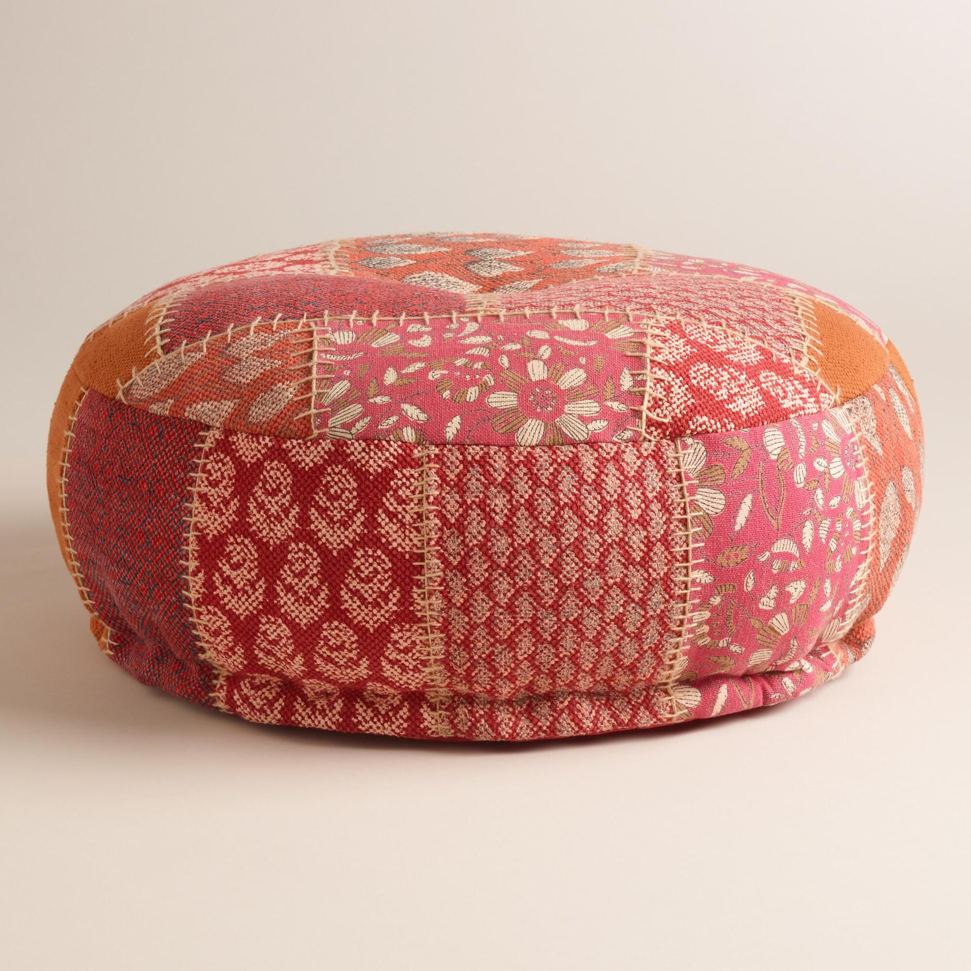 Coral Kantha Patchwork Pouf | Patchwork designs, Cotton thread and ...